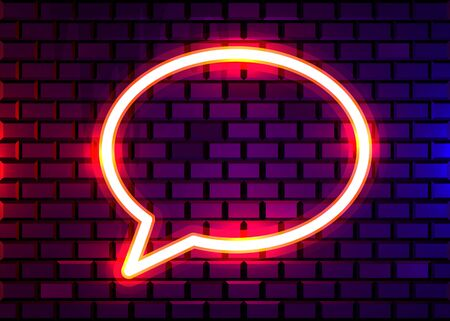 Neon chat bubble sign on dark brick wall background. Las Vegas concept. Vector illustration.
