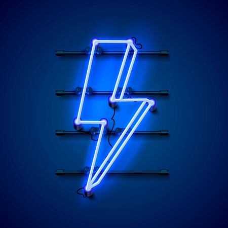 Neon sign of lightning signboard on the blue background. Vector illustration