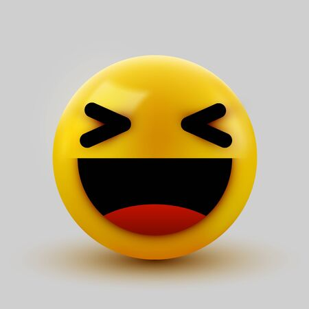 3D smiling ball sign Emoticon Icon Design for Social Network. Grinning emoticon. Emoji, smiley concept.  イラスト・ベクター素材