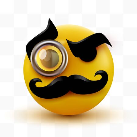 Gentleman emoticon. Sir icon with mustache and monocle. Иллюстрация