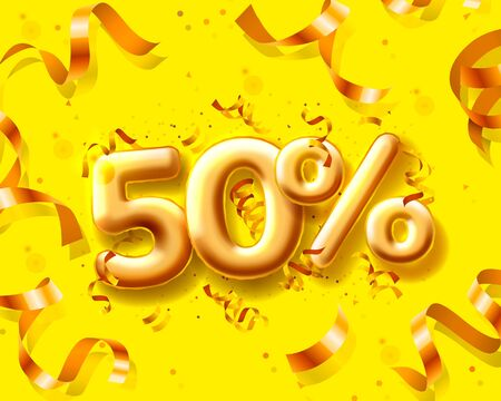Sale 50 off ballon number on the yellow background.