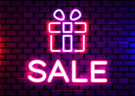 Vector realistic isolated neon sign of Gift for decoration on the wall background. Concept of Christmas present, bonus, reward or sale. Reklamní fotografie - 131765102