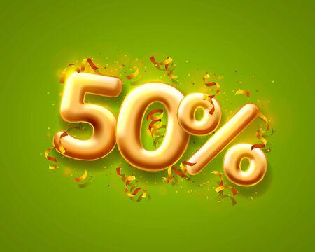 Sale 50 off ballon number on the green background. Vector illustration Ilustração