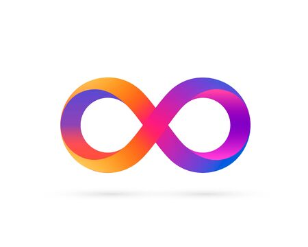 Infinity symbol with color gradient, colored icon. Vector illustration