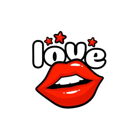 Love label sticker. A kiss of a message. Red lips. Vector illustration Иллюстрация