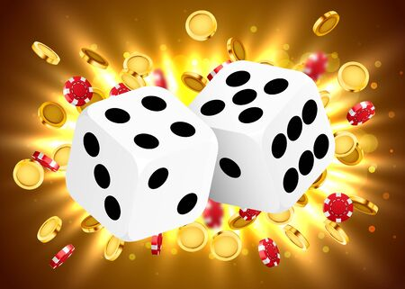 Two dices, surrounded by a luminous frame and coin explosion. Luck banner. Casino concept. Vector illustration Stock Illustratie