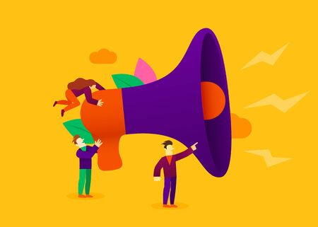Small cartoon people with megaphone. Announcement or information concept. Vector illustration