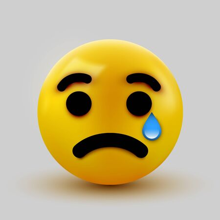 Crying sad emoticon, emoji, smiley. Social network concept.