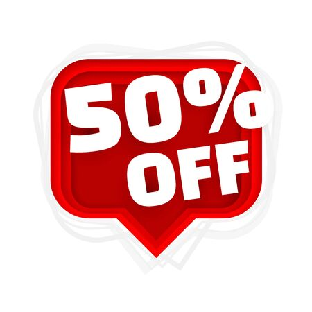 Banner 50 off with share discount percentage. Vector illustration