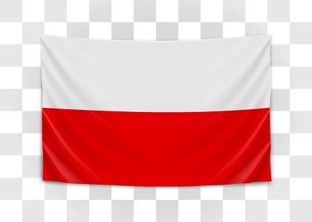 Hanging flag of Poland. Republic of Poland. Polish national flag concept.