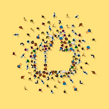 People in the heap in the form of a symbol to like. Vector illustration