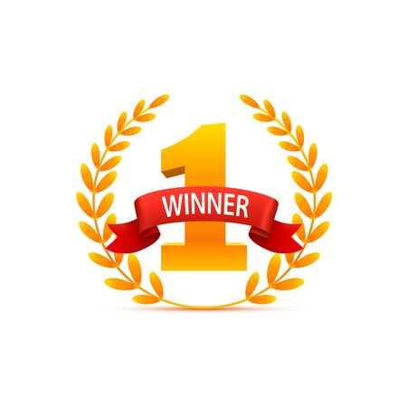Winner number one Vinok of gold Award Ceremony on white Background, Vector illustration