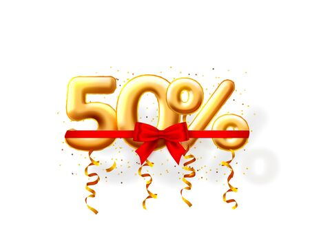 Sale 50 off ballon number on the white background. Vector illustration