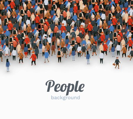 Large group of people on white background. People communication concept. Vector illustration Ilustracja
