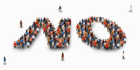 Large group of people in form of word No. Protest concept. Vector illustration