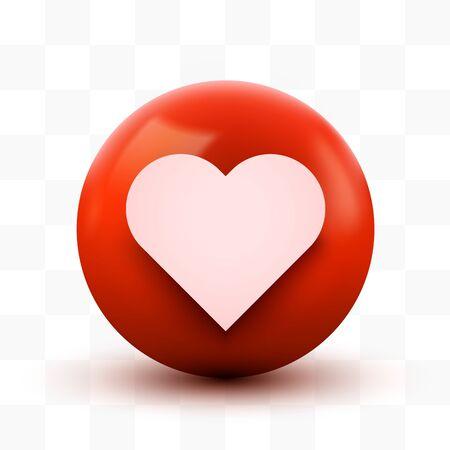 3D Heart ball sign Emoticon Icon Design for Social Network. Modern Emoji. Vector illustration Ilustração