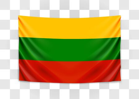 Hanging flag of Lithuania. Republic of Lithuania. National flag concept. Vector illustration.