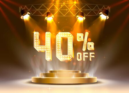 Scene golden 40 sale off text banner. Night Sign. Vector illustration