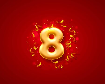 Festive ceremony balloons, 8 numbers balloons. Vector illustration 向量圖像