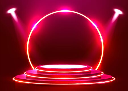 Abstract round podium illuminated with spotlight and neon. Award ceremony concept. Stage backdrop. Vector illustration