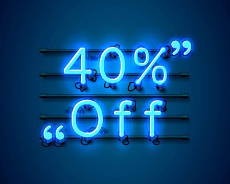 Neon frame 40 off text banner. Night Sign board. Vector illustration