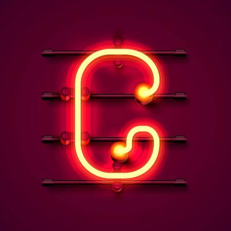 Neon font letter g, art design signboard. Vector illustration Illustration