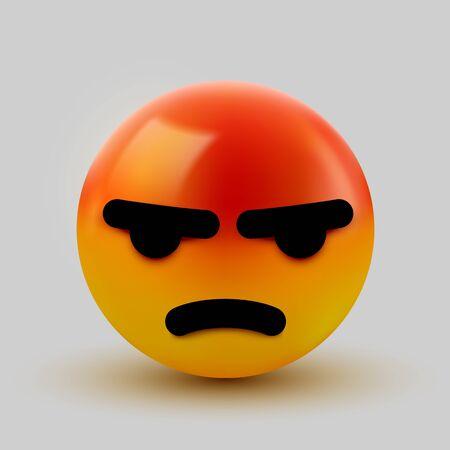3D Angry, mad emoji sign. Emoticon Icon Design for Social Network. Grinning emoticon. Emoji, smiley concept. Vector illustration