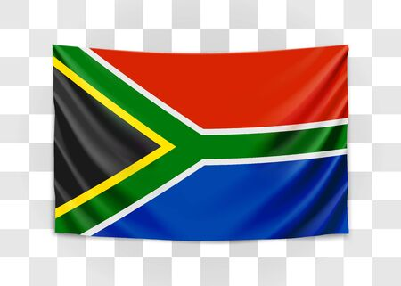 Hanging flag of South Africa. Republic of South Africa. RSA national flag concept. Vector illustration.