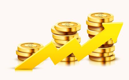 Growing stack of golden dollar coins with rising arrow isolated on white background. Economics concept. Vector illustration Vektoros illusztráció