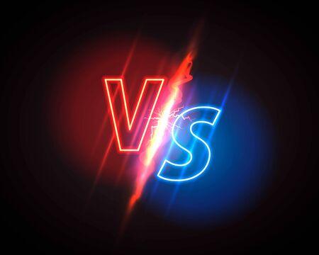 Versus game cover, neon banner sport vs, team concept. Vector illustration background