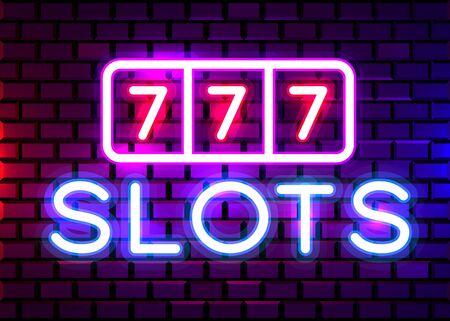 Neon 777 Casino slots sign. Casino neon signboard. Online casino concept. Vector illustration