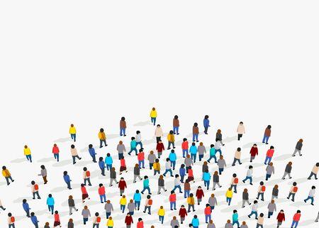 Grand groupe de personnes sur fond blanc. Concept de communication de personnes. Illustration vectorielle