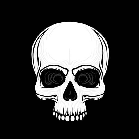 Human skull isolated on black, color symbol. Vector illustration Reklamní fotografie - 133107408