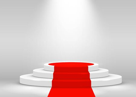 Stage Podium Scene for Award Ceremony illuminated with spotlight and red carpet. Award ceremony concept. Stage backdrop. Vector illustration Stockfoto - 133421335