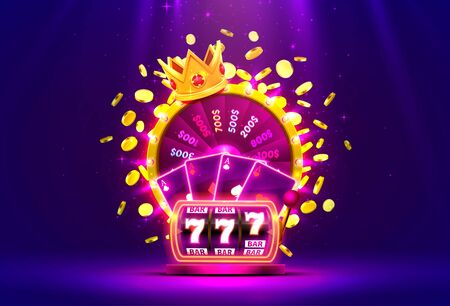 Casino golden colorful fortune wheel, Neon slot machine, Playing Cards wins the jackpot. Vector illustration Иллюстрация