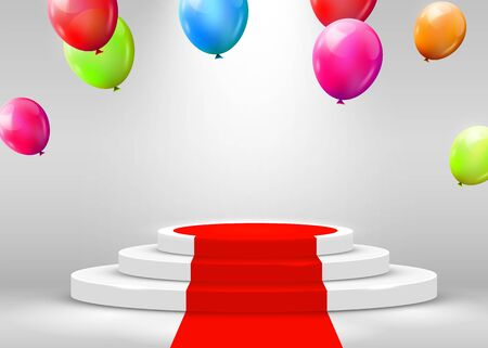 Stage Podium Scene for Award Ceremony illuminated with spotlight, red carpet and flying balloons. Award ceremony concept. Stage backdrop. Vector illustration Stock Illustratie