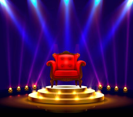 Winner podium art, Red Chair on the scene. Vector illustration Stockfoto - 133421346