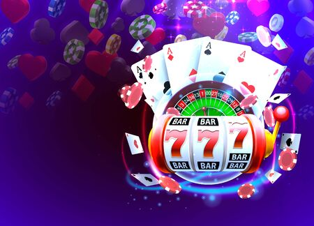 Casino 3d cover, slot machines and roulette with cards, Scene background art. Vector illustration Иллюстрация