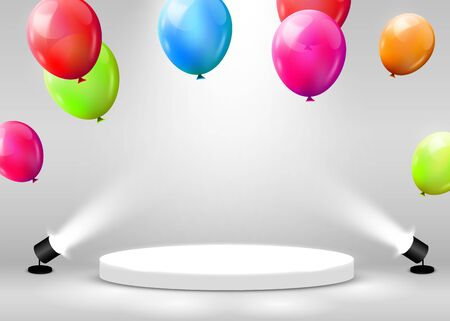 Stage Podium Scene for Award Ceremony illuminated with spotlight and flying balloons. Award ceremony concept. Stage backdrop. Vector illustration Stockfoto - 133421755