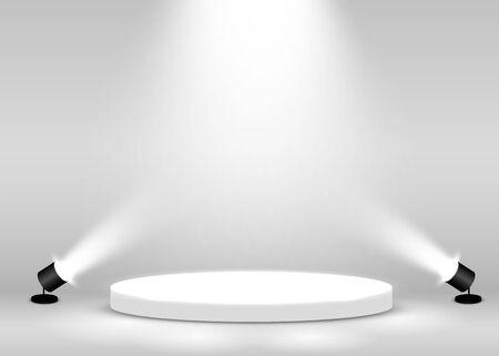 Stage Podium Scene for Award Ceremony illuminated with spotlight. Award ceremony concept. Stage backdrop. Vector illustration Stockfoto - 133421789