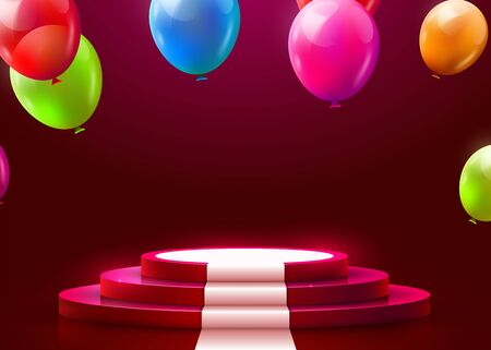 Stage Podium Scene for Award Ceremony illuminated with spotlight, carpet and flying balloons. Award ceremony concept. Stage backdrop. Vector illustration Stockfoto - 133421794