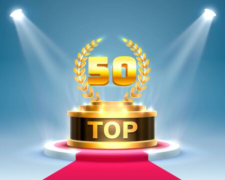 Top 50 best podium award sign, golden object. Vector illustration