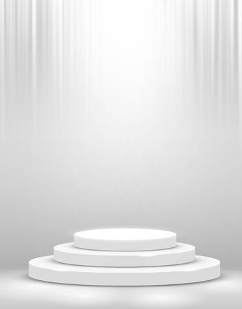 Stage Podium Scene for Award Ceremony illuminated with spotlight. Award ceremony concept. Stage backdrop. Vector illustration Stockfoto - 133421881