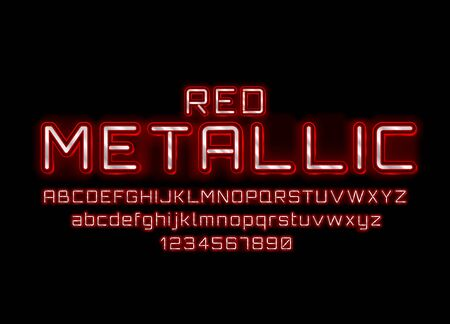 Metallic red font. English alphabet and numbers sign. Vector illustration Stok Fotoğraf - 133421884