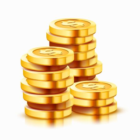 Groeiende stapel gouden dollar munten geïsoleerd op een witte achtergrond. Economie concept. vector illustratie