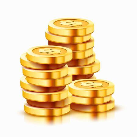 Pila crescente di monete del dollaro d'oro isolate su sfondo bianco. Concetto di economia. Illustrazione vettoriale