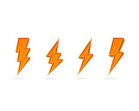 Electric lightning, set of icons on a white background. Vector illustration Illusztráció