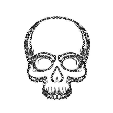 Human skull isolated on black, color object. Vector illustration Reklamní fotografie - 133421984