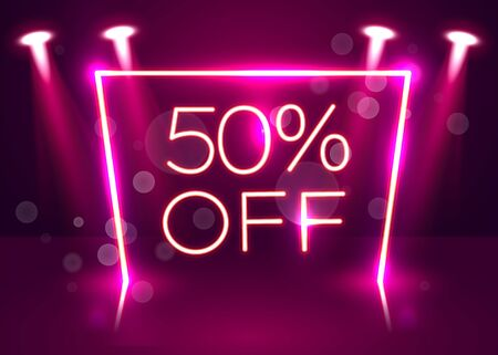 Sale glowing neon sign. Light vector background for your advertise, discounts and business. Vector illustration Stockfoto - 133422146