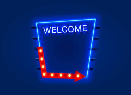Neon welcome open signboard on the blue background. Vector illustration